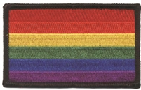 8213-01 - rainbow flag with black border embroidered patch