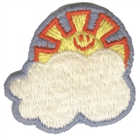 "8242 - sun over cloud embroidered sew on applique patch. 1.625"" wide x 1.625"" tall. Patches are carded for a display for retail stores. Made in USA."