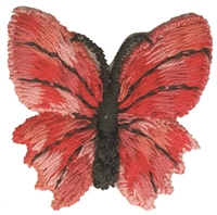 8253-36 - Red butterfly aetz embroidered sew on patch. Patches are carded for a retail display for retail stores. Made in USA.