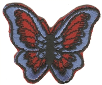 Blue on red butterfly sew on patch.