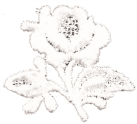 aetz embroidered all white rose & stem sew on patch.