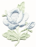 aetz embroidered blue rose & stem sew on patch.