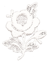 all white aetz embroidered applique patch rose