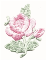 aetz embroidered pink rose & stem sew on patch.