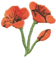 California poppies embroidered souvenir patch.