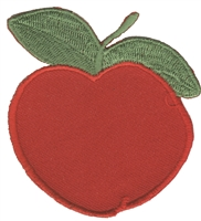 "8356 - apple embroidered iron or sew on patch. 2.785"" tall x 2.625"" wide - Patch has an iron-on backing but can be sewn on. Patches are carded for a display for retail stores."