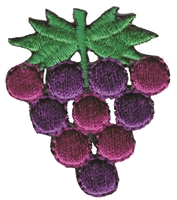 8359 - Grape aetz applique embroidered sew on or iron-on patch. Patches are carded for a display rack for retail stores. Made in USA.