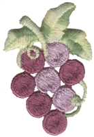 "8370 - Grape bunch embroidered applique patch. Sew on or iron-on. 1.75"" wide x 2.75"" tall. Patches are carded for a store display for retail stores. Made in USA."