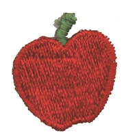 "8371 -  apple embroidered patch - 1.125"" tall x 1 1/16"" wide - Sew on or iron-on. Carded for a display rack for retail stores"