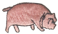 "8454 -  pig embroidered iron-on or sew on patch. 1.375"" wide x .75"" tall. Patches are carded for a display for retail stores."