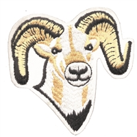 8486-39 - big sheep or ram embroidered patch. Sew on or iron-on. Patches are carded for a display for retail stores. Made in USA.