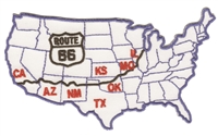 9567 - ROUTE 66 map souvenir embroidered patch
