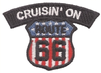 CRUISIN' ON ROUTE 66 souvenir embroidered patch