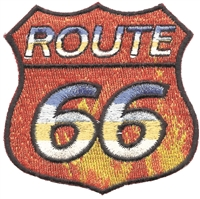 ROUTE 66 fire shield souvenir embroidered patch