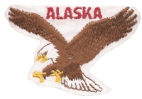 ALASKA eagle on white souvenir embroidered patch, AK