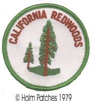 CALIFORNIA REDWOODS, green border souvenir embroidered patch