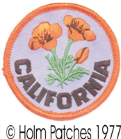 "CA-09-2 - CALIFORNIA poppy 2"" souvenir embroidered patch"