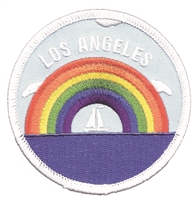 L.A.-35 - LOS ANGELES rainbow sailboat souvenir embroidered patch - © Holm Patches