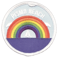 PISMO BEACH rainbow sailboat embroidered patch