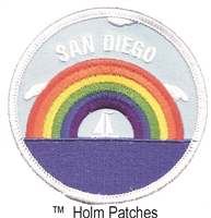 SAN DIEGO rainbow sailboat embroidered patch