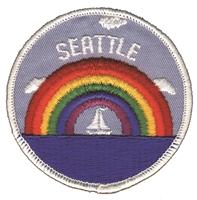 SEATTLE-35 - SEATTLE rainbow sailboat souvenir embroidered patch
