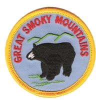 GREAT SMOKY MOUNTAINS black bear souvenir embroidered patch
