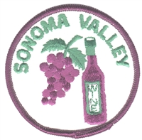 SONOMA VALLEY wine & grapes souvenir embroidered patch