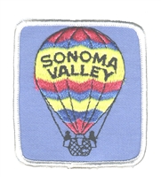 SONOMA VALLEY hot air balloon souvenir embroidered patch