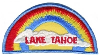TAHOE-05 - LAKE TAHOE rainbow with cloud souvenir embroidered patch