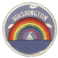 WA-35 - WASHINGTON rainbow sailboat souvenir embroidered patch