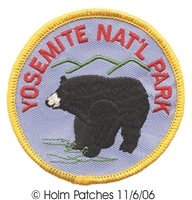 YOSEMITE-39 - YOSEMITE NAT'L PARK black bear souvenir embroidered patch