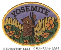 YOSEMITE-59 - YOSEMITE bear & poppy souvenir embroidered patch