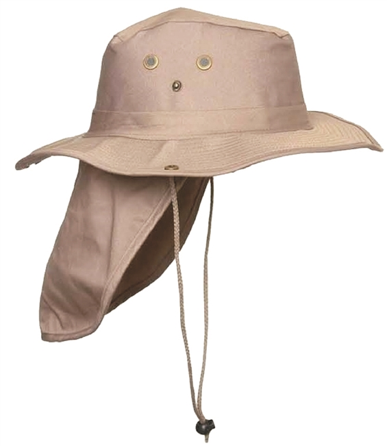 bush hat with a back flap to protect the back of the neck.