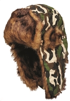 Trapper or aviator camo hat.