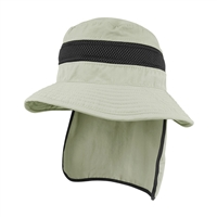 nylon hat with neck cover or flap
