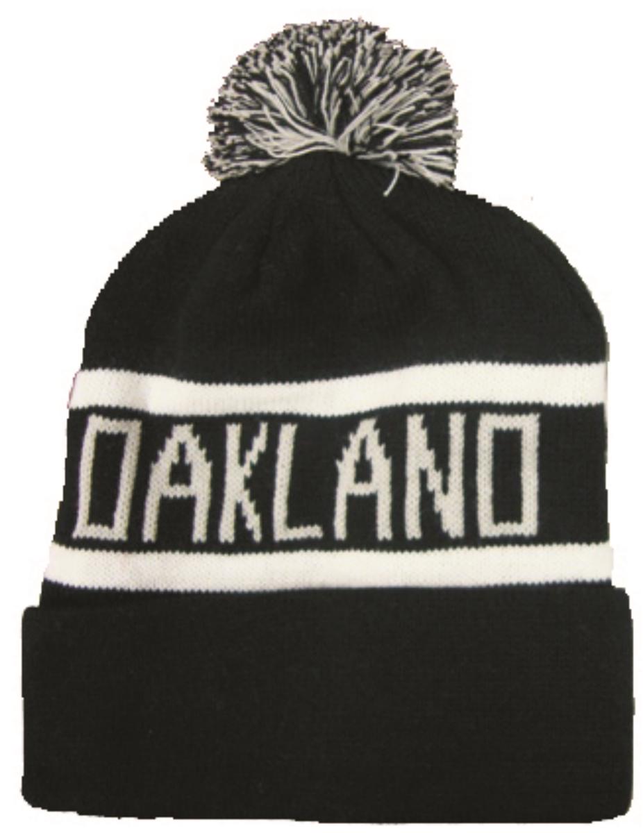 hOAK-BLK LT.G... - OAKLAND cuffed pom knit beanie hat 99f6f7529cc