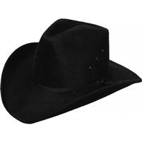 Black felt pinch front hat.