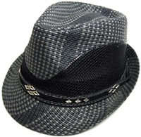 hFD-189-black - fedora hat, black straw with mesh