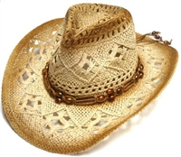 sST-023-BROWN - crochet straw cowboy hat