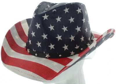 US flag straw cowboy hat -sST-070-WHITE