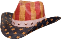 US flag cowboy straw hat