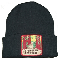 CALIFORNIA REDWOODS black knit beanie