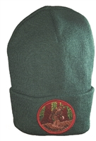 BIGFOOT LIVES green knit beanie.