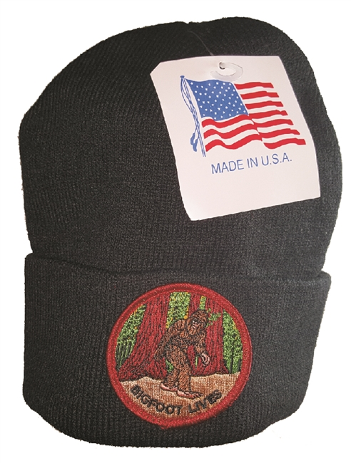 BIGFOOT LIVES black knit beanie - Made in USA.