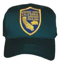 CALIFORNIA FISH & GAME dark green cotton cap. One Size Fits Most plastic tab adjust.