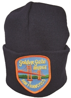 x4005x182 - San Francisco GOLDEN GATE BRIDGE knit beanie. One size fits most. Black is shown but assorted or specific colors available: Black, Navy Blue, Royal Blue, Red, White, Dark Grey, Silver Grey, Khaki