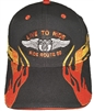 x66LIVE32x130213201 - LIVE TO RIDE ROUTE 66 Orange-Gold embroidered flame on a black brushed cotton cap. Hook & Loop belt One Size Fits Most adjusting belt.