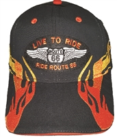LIVE TO RIDE ROUTE 66 Orange-Gold embroidered flame on a black brushed cotton cap. Hook & Loop belt One Size Fits Most adjusting belt.
