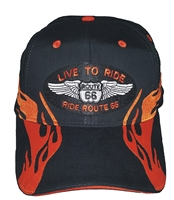 #66LIVE32-1303201 - Orange side flame Route 66 brushed cotton black cap. Hook and Loop belt. One Size Fits Most adjust.