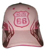 Pink side flame Route 66 brushed cotton cap. Hook and Loop belt One Size Fits Most adjust.